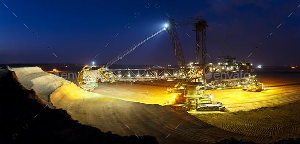 Giant Bucket-Wheel Excavator At Night Panorama - Stock Photo - Images