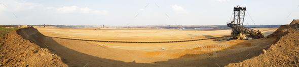 Bucket-Wheel Excavator In Mine Panorama - Stock Photo - Images