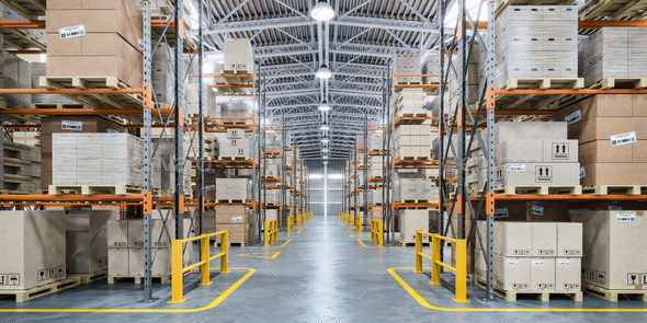 Warehouse or storage and shelves with cardboard boxes. Industria - Stock Photo - Images