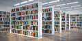 Library. Background from white  bookshelves with books and textb - PhotoDune Item for Sale