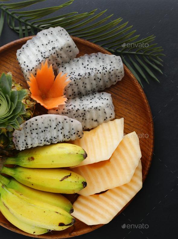 Tropical Fruits, Pineapple, Banana - Stock Photo - Images