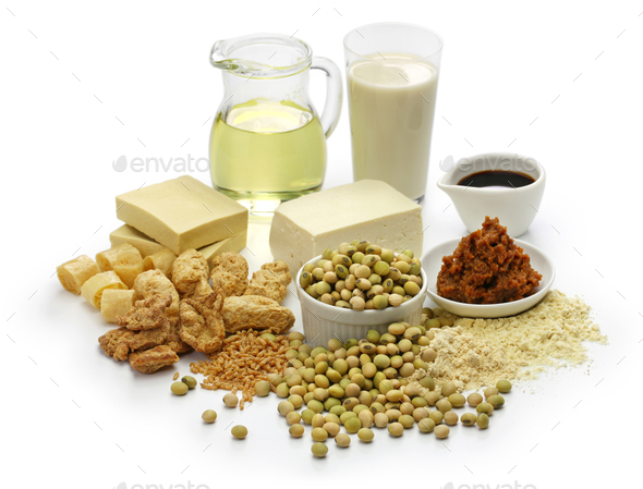 soy bean products, japanese healthy foods  - Stock Photo - Images