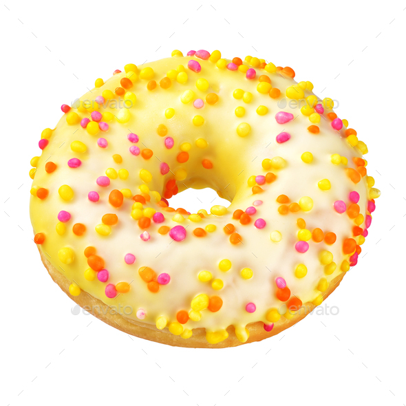 Yellow donut isolated on white - Stock Photo - Images