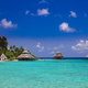 Over water bungalows with steps into amazing green lagoon - PhotoDune Item for Sale