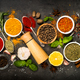 Set of various spices on black background - PhotoDune Item for Sale