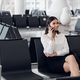 Airport woman on smart phone at gate waiting in terminal. Air travel concept with young casual - PhotoDune Item for Sale