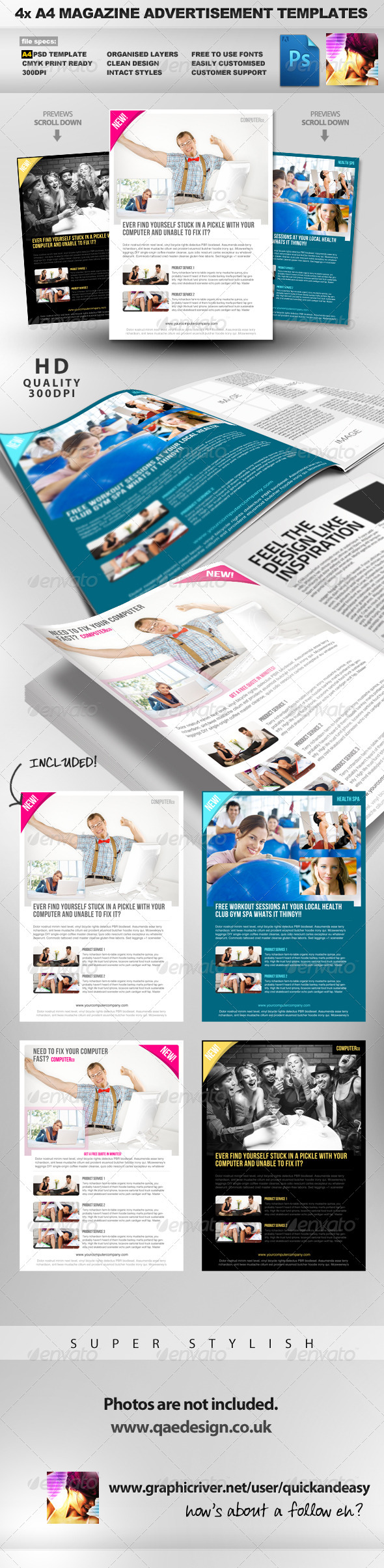 Product/Service A4 PSD Magazine Advertisement - Magazines Print Templates