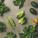 Healthy vegan salad ingredients layout over concrete background, wide composition - PhotoDune Item for Sale