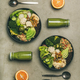 Healthy dinner with superbowls and green smoothies - PhotoDune Item for Sale