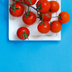 Cherry tomatoes on a blue  background - PhotoDune Item for Sale