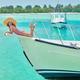 Woman in red bikini lying on boat bow - PhotoDune Item for Sale