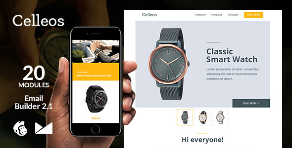 Celleos Responsive Email Template + Online Emailbuilder 2.1 by web4pro