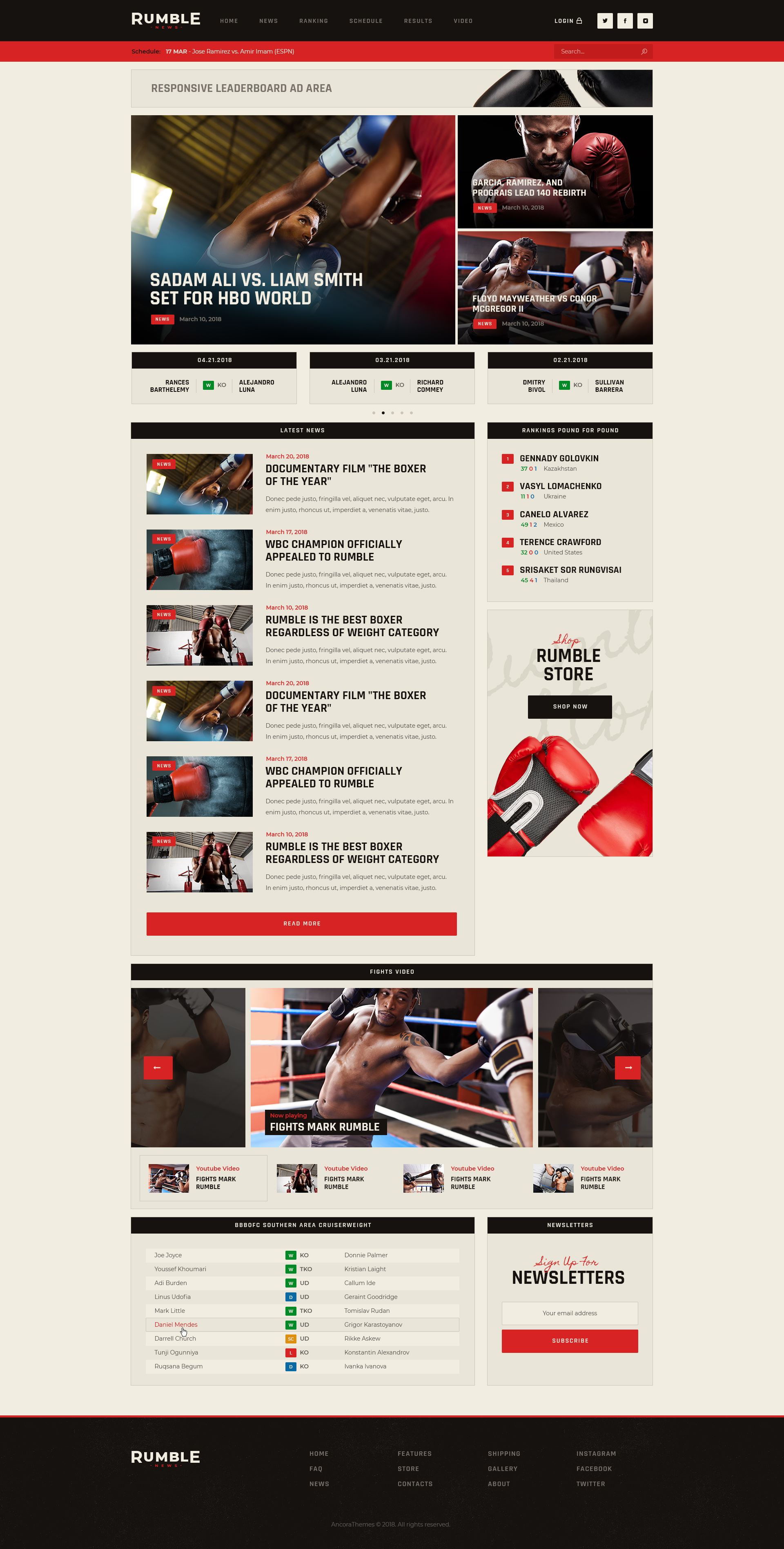 Rumble Boxing Mixed Martial Arts Fighting Wordpress Theme By Ancorathemes