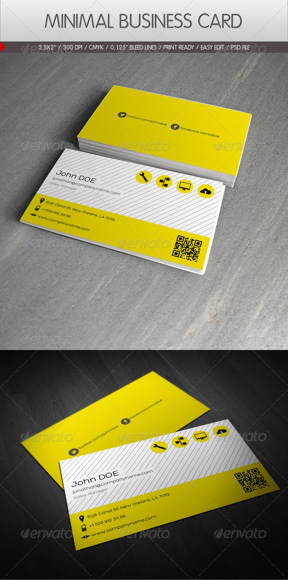 Minimal Business Card by yderindere | GraphicRiver