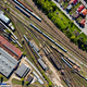 Aerial drone view of old locomotive train depo, parking iron horses on railway routes - PhotoDune Item for Sale