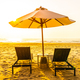 Umbrella and chair on the beautiful landscape of beach sea ocean - PhotoDune Item for Sale