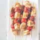 Grilled chicken skewers on the white plate - PhotoDune Item for Sale