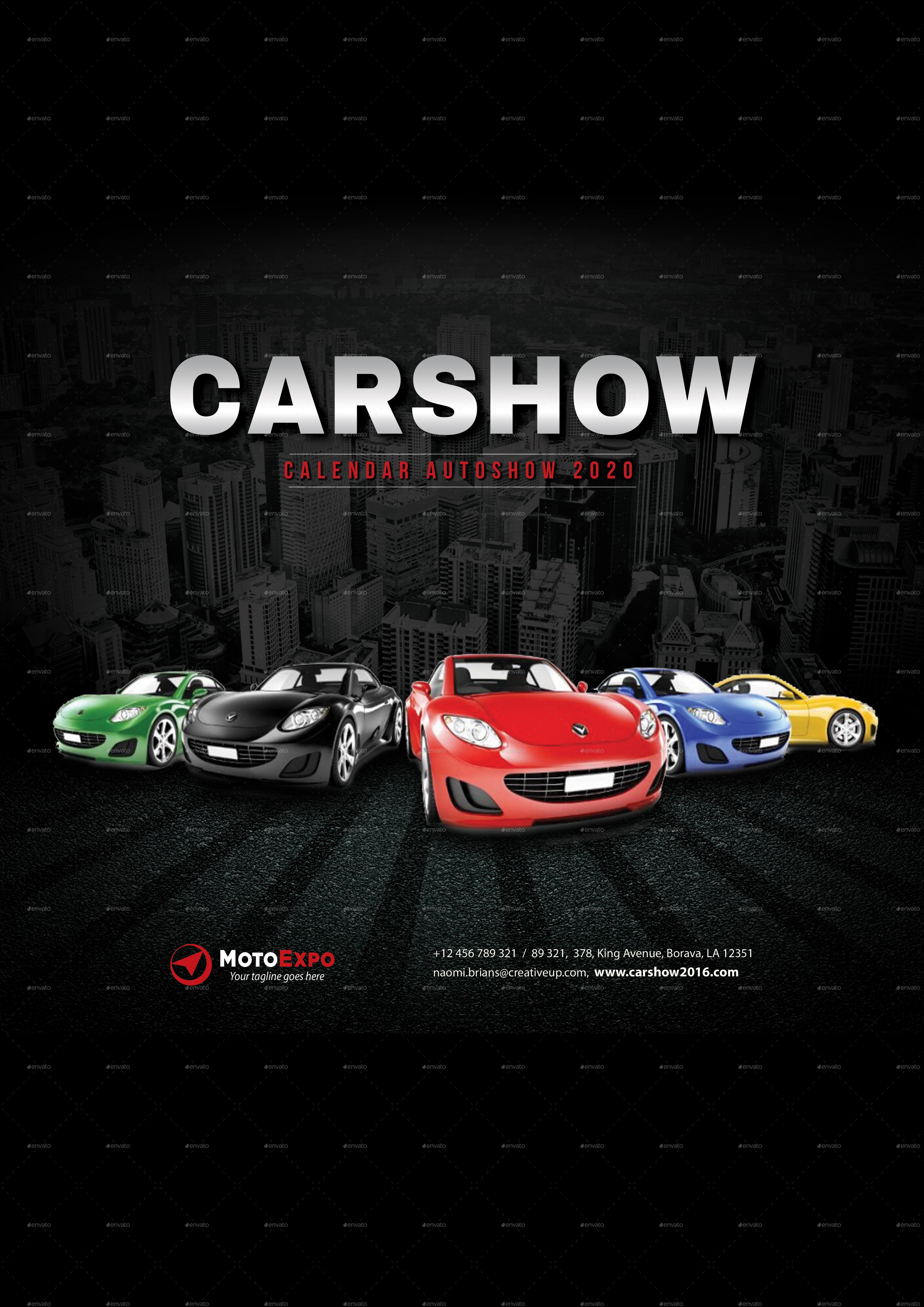2020 Auto Show Calendar Auto Show Wall Calendar A3 2020 by rapidgraf | GraphicRiver