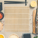 sushi ingredients on concrete background, flat lay, top view - PhotoDune Item for Sale