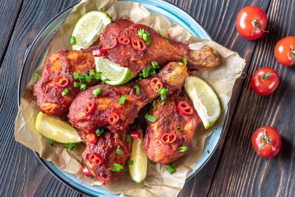 Chicken drumsticks in barbecue sauce - Stock Photo - Images