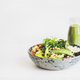 Healthy vegan superbowl with hummus and green smoothie - PhotoDune Item for Sale