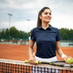 Happy fit girl playing tennis together. Sport concept - PhotoDune Item for Sale