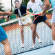 Fit happy poeple playing tennis together. Sport concept - PhotoDune Item for Sale