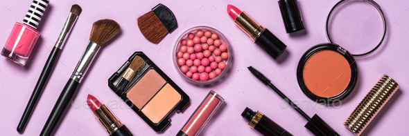 Makeup Professional Cosmetics On Purple Background Stock Photo By Nadianb