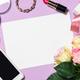 Makeup professional cosmetics on purple background - PhotoDune Item for Sale
