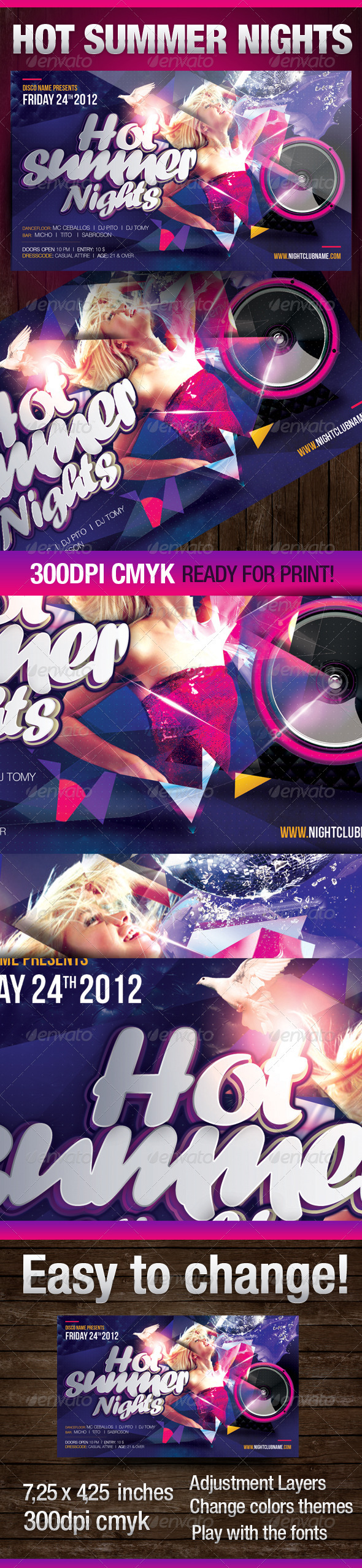 Hot Summer Nights Party Flyer - Flyers Print Templates