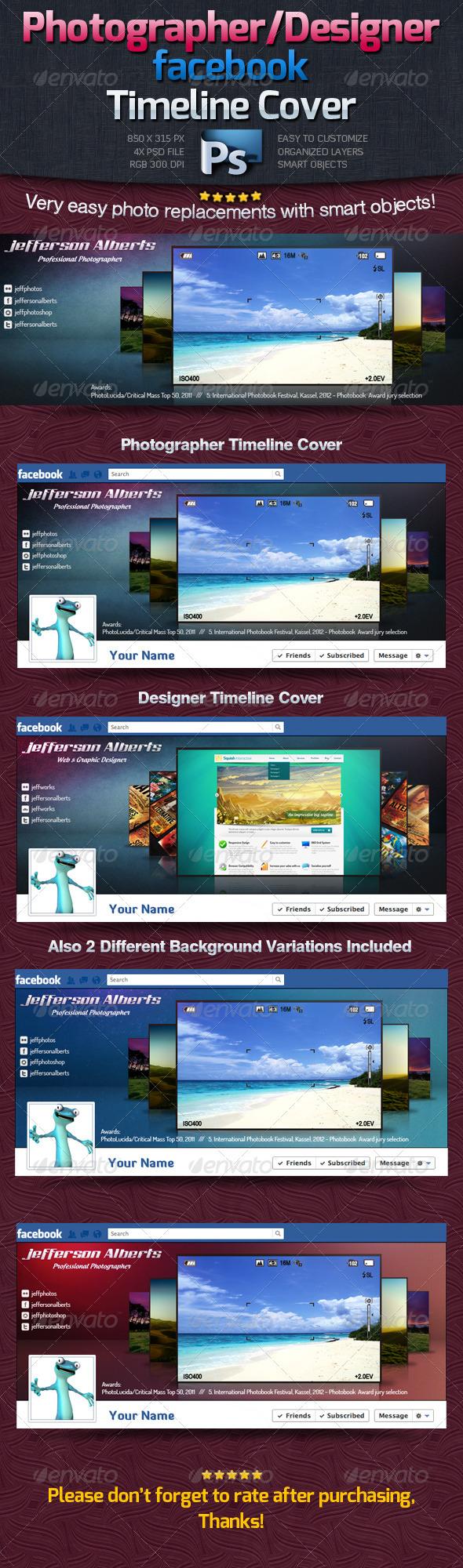Photographer / Designer Facebook Timeline Cover - Facebook Timeline Covers Social Media