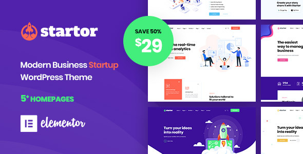 Startor – Modern Business Startup WordPress Theme Free Download