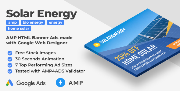 Solar Energy - Animated AMP HTML Banner Ad Templates (GWD, AMPHTML)