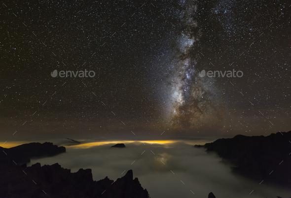 Milkyway Above La Palma Caldera - Stock Photo - Images