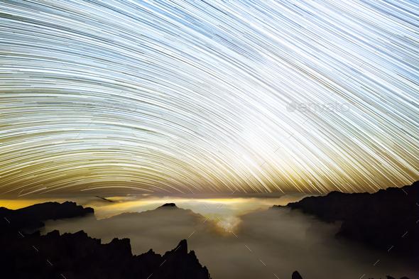 Milkyway Star Trails Above La Palma Caldera - Stock Photo - Images