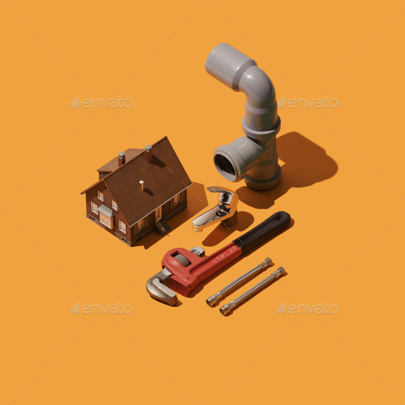 Home renovation and plumbing tools - Stock Photo - Images