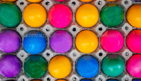 Colorful Easter eggs full background. Top view - Stock Photo - Images
