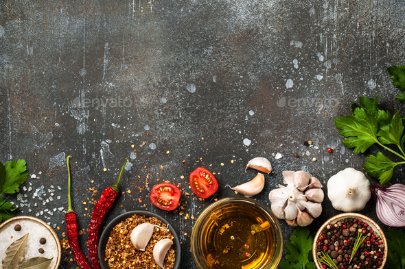 Cooking table with spices and herbs - Stock Photo - Images