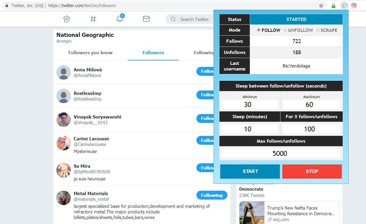 Twitter Auto Follow/Unfollow/Scraper - Chrome Extension