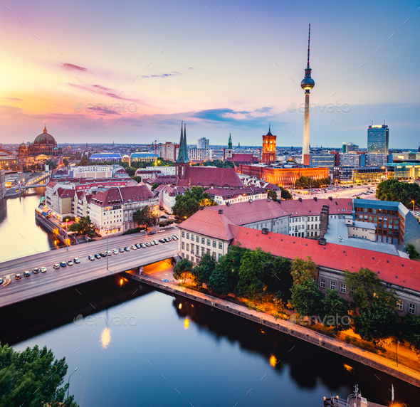 Berlin, Germany at sunset. - Stock Photo - Images