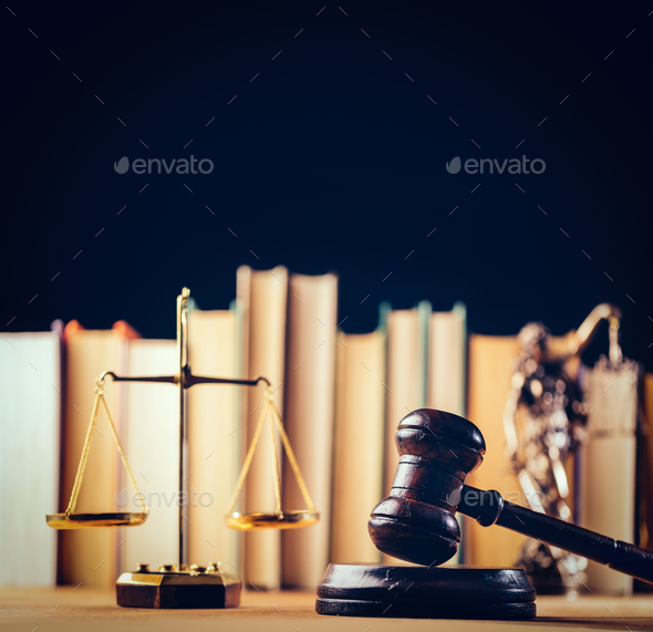 Symbols of law - scale, hammer and Themis - Stock Photo - Images