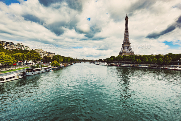 Eiffel Tower and Seine River in Paris - Stock Photo - Images