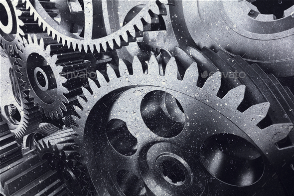 Industrial metal gears in a close-up. - Stock Photo - Images