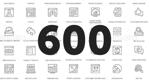 600 Thin Line Icons Collection