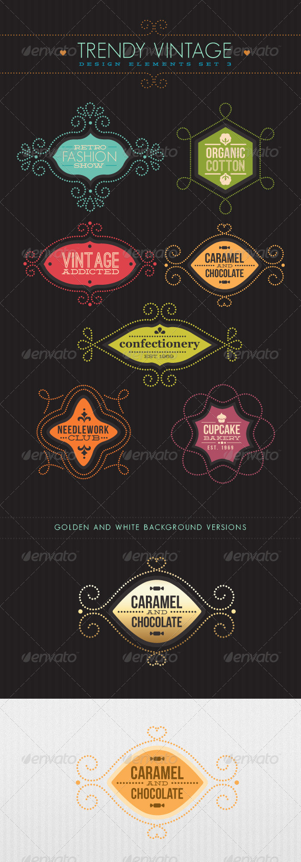 Trendy Vintage Vector Design Elements Set 3 - Flourishes / Swirls Decorative