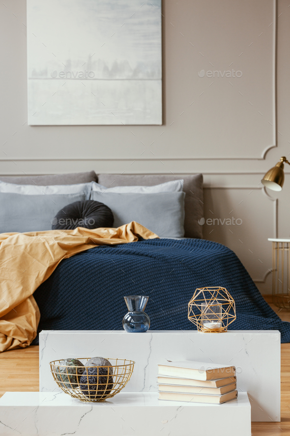 Vertical View Of Elegant Blue Grey Gold And Orange Bedroom Stock Photo By Bialasiewicz