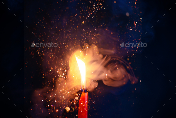 Smoke And Fire Texture With Sparkles Candle Flame On A Black Background With Gradient Blue And Stock Photo By Dinabelenko