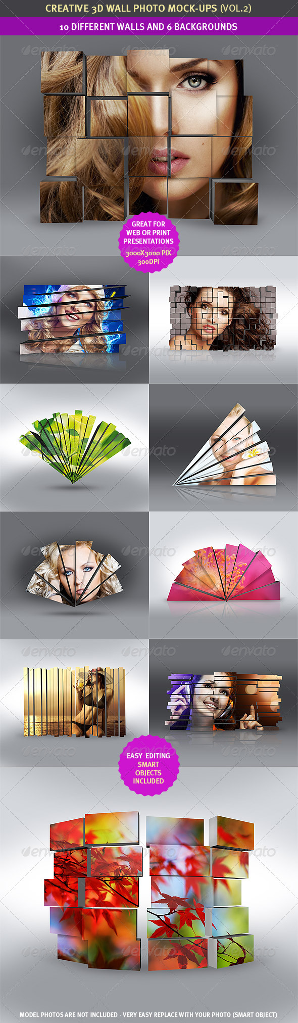 3D Wall Photo Mock-Ups 2 - Miscellaneous Displays