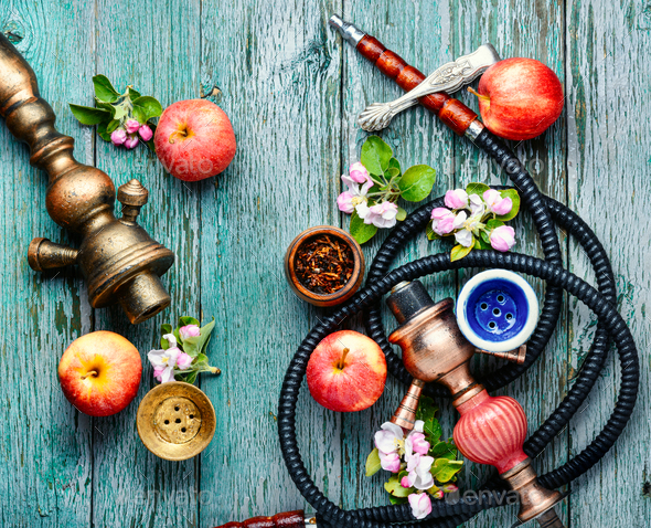 Hookah with apple tobacco - Stock Photo - Images