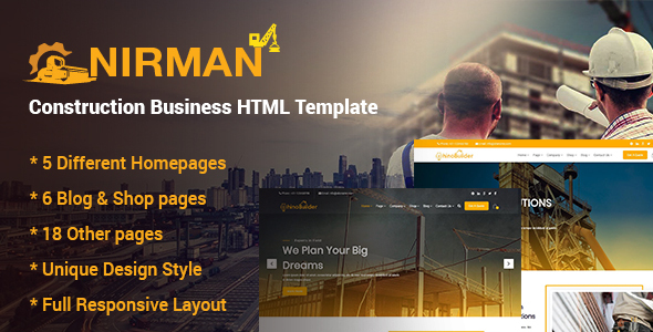 Exceptional Nirman - Construction Business HTML Template